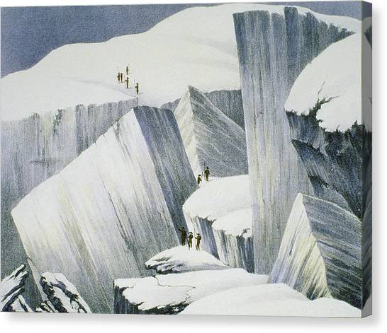 Alpine Canvas Print - Ascending A Cliff, From A Narrative by English School