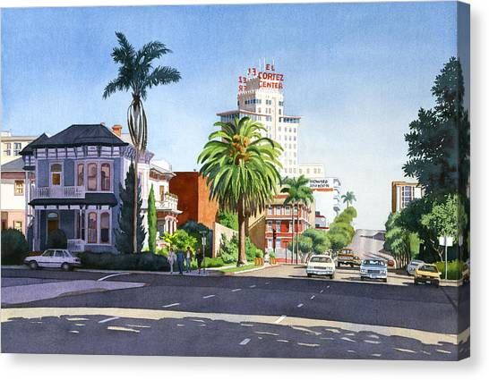 City-scapes Canvas Print - Ash And Second Avenue In San Diego by Mary Helmreich