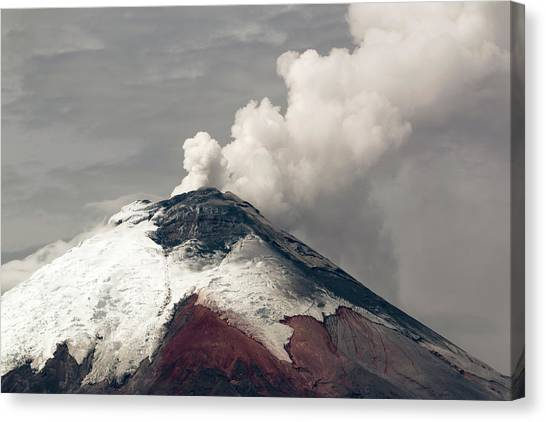 Cotopaxi Canvas Print - Ash Plume Rising From Cotopaxi Volcano by Dr Morley Read
