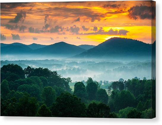 Blue Ridge Parkway Canvas Print - Asheville Nc Blue Ridge Mountains Sunset - Welcome To Asheville by Dave Allen