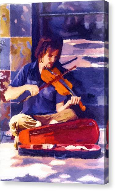 Asheville Street Concerto Canvas Print by John Haldane