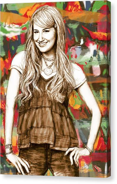 Ashley Tisdale - Stylised Drawing Art Poster Canvas Print by Kim Wang