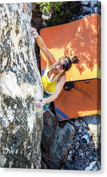 Cape Town Canvas Print - Asian, Athletic Female Climbs by Alexandra Simone