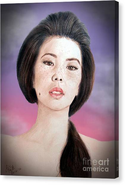 Lucy Liu Canvas Print - Asian Beauty Fade To Black Version by Jim Fitzpatrick