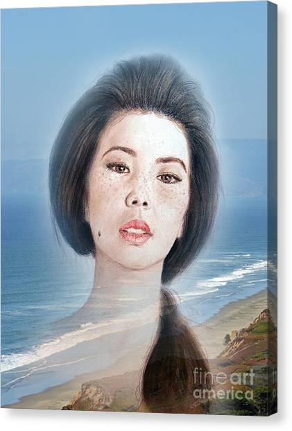 Lucy Liu Canvas Print - Asian Beauty Fade To Ocean Photograph by Jim Fitzpatrick
