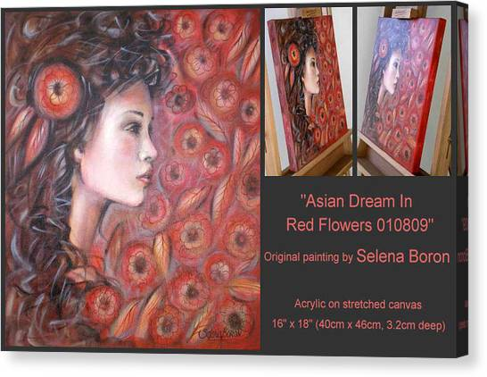 Asian Dream In Red Flowers 010809 Comp Canvas Print