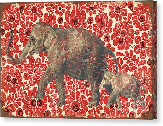 Elephants Canvas Print - Asian Elephant-jp2185 by Jean Plout