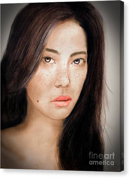 Lucy Liu Canvas Print - Asian Model With Freckles Fade To Black by Jim Fitzpatrick