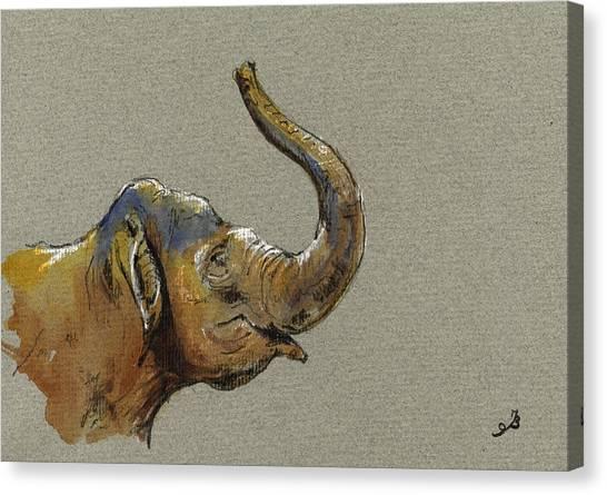 Nature Study Canvas Print - Asiatic Elephant Head by Juan  Bosco