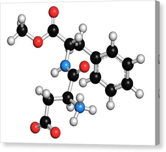 Diabetes Canvas Print - Aspartame Artificial Sweetener Molecule by Molekuul