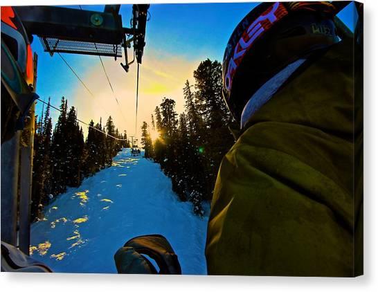 Snowboarding Canvas Print - Aspen Sunset by Tristan Rohrbaugh