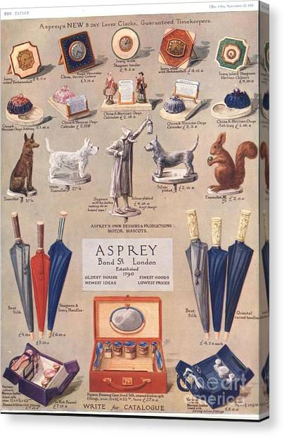 Asprey 1925 1920s Uk Asprey Gifts Canvas Print by The Advertising Archives
