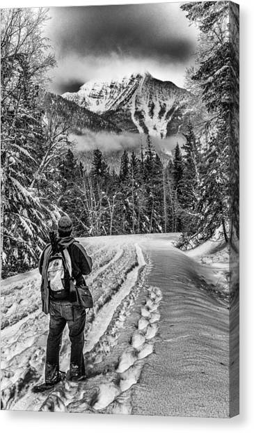 Mountain Cliffs Canvas Print - Assessing The Route by Aaron Aldrich