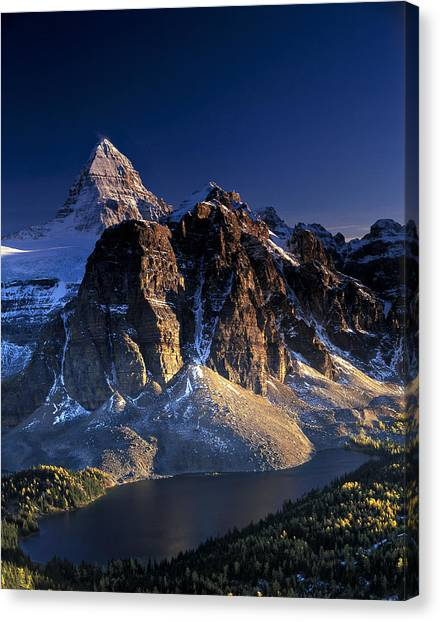 Assiniboine And Sunburst Peak At Sunset Canvas Print