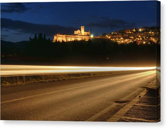Assisi By Night Canvas Print by Luca Roveda