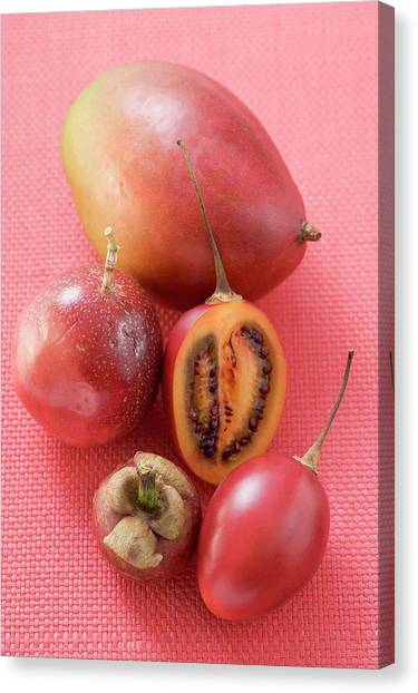 Passionfruit Canvas Print - Assorted Exotic Fruits (overhead View) by Foodcollection