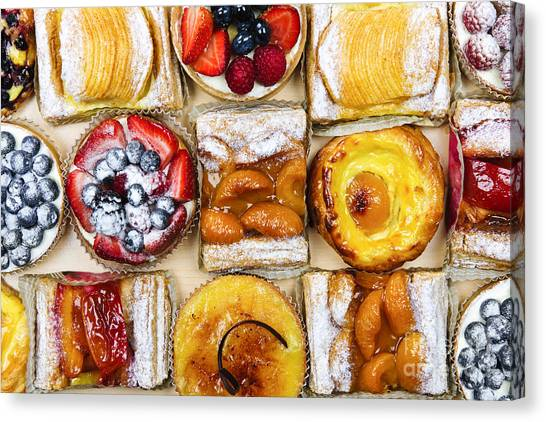 Danish Canvas Print - Assorted Tarts And Pastries by Elena Elisseeva