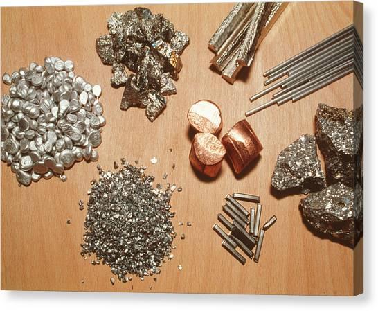 Assorted Transition Metals Canvas Print by Klaus Guldbrandsen/science Photo Library