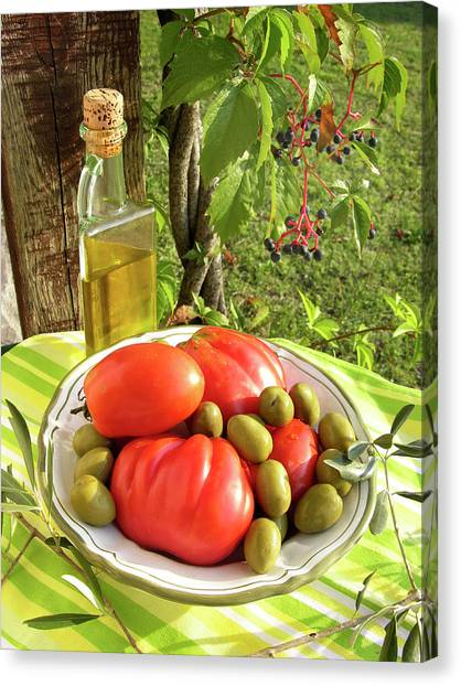 Olive Oil Canvas Print - Assortment Of Fruit With Olive Oil by Tony Craddock/science Photo Library