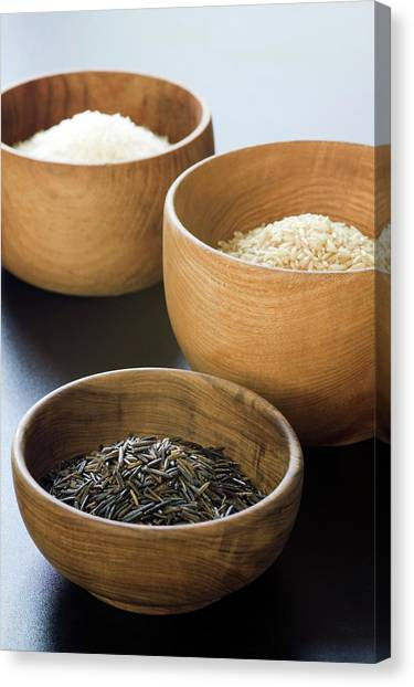Assortment Of Rice Canvas Print by Gustoimages/science Photo Library