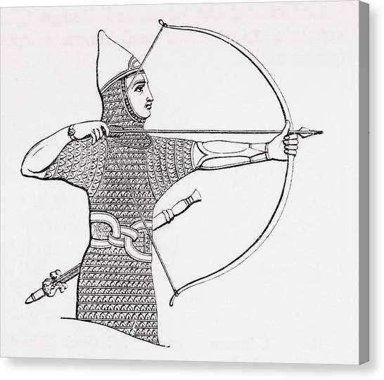 Protective Clothing Canvas Print - Assyrian Archer Wearing A Cuirass.  From The Imperial Bible Dictionary, Published 1889 by Bridgeman Images