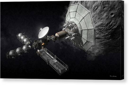 Canvas Print featuring the digital art Asteroid Mining And Processing by Bryan Versteeg