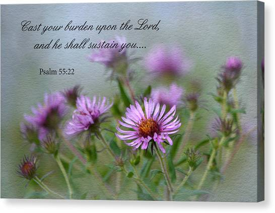 Asters With Scripture Canvas Print