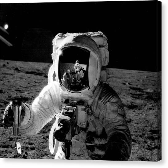 Space Suit Canvas Print - Astronaut On The Moon by Retro Images Archive