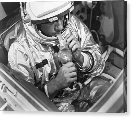 Space Suit Canvas Print - Astronaut's Dinner In A Tube by Underwood Archives