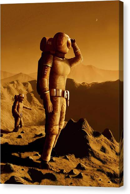 Space Suit Canvas Print - Astronauts On Mars by Mark Garlick/science Photo Library