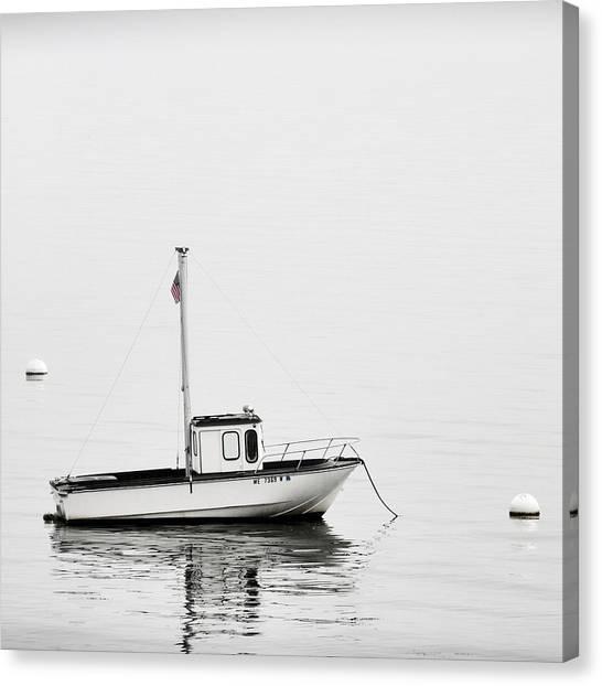 Calm Down Canvas Print - At Anchor Bar Harbor Maine Black And White Square by Carol Leigh