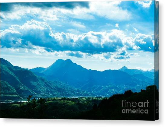 At Barga Looking Towards The Apuane Alps From The Duomo Tuscany Canvas Print