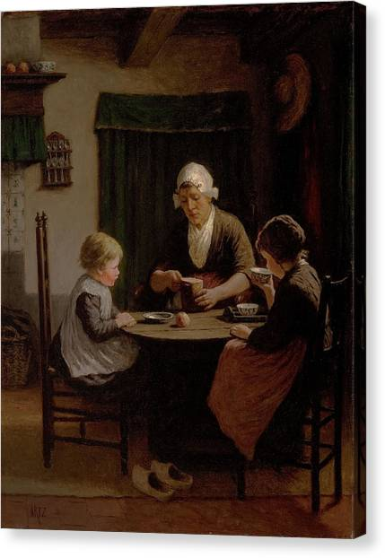 Dinner Table Canvas Print - At Grandmothers by David Adolph Constant Artz