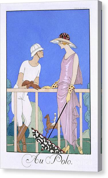Polo Canvas Print - At Polo by Georges Barbier