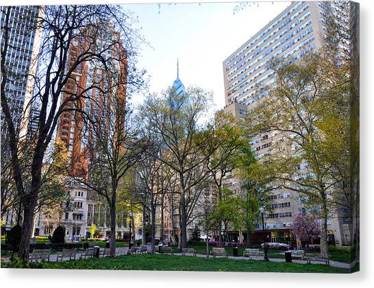 Philadelphia Phillies Canvas Print - At Rittenhouse Square by Bill Cannon