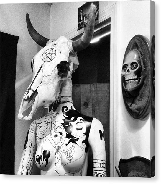 Satan Canvas Print - At The Antique/vintage Thrift Shop by Craig Kempf