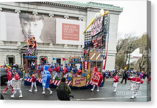 Macys Parade Canvas Print - At The Ball Game Float By Craker Jack Popcorn At Macy's Thanksgiving Day Parade by David Oppenheimer