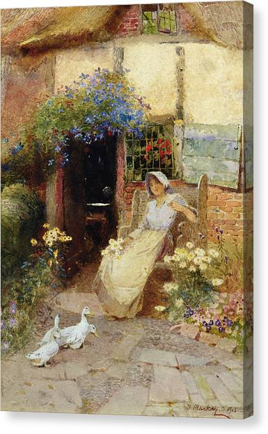 Pinafores Canvas Print - At The Cottage Door by Thomas Mackay