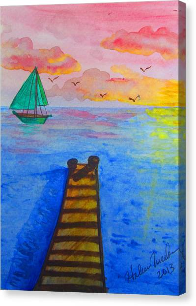 At The Dock Canvas Print by Haleema Nuredeen