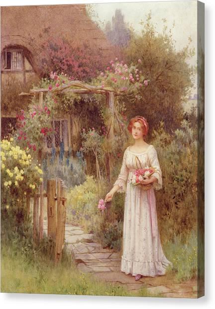 Victorian Garden Canvas Print - At The Garden Gate by William Affleck