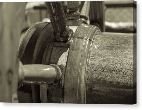 At The Helm Black And White Sepia Canvas Print