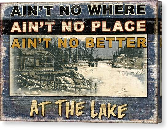 Log Cabin Canvas Print - At The Lake Sign by JQ Licensing