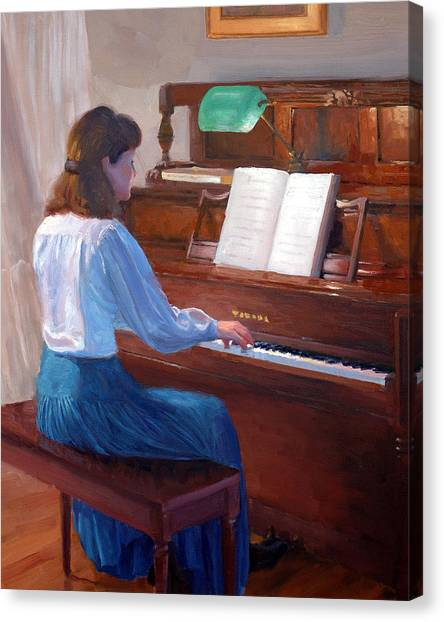 Yamaha Canvas Print - At The Piano by Armand Cabrera
