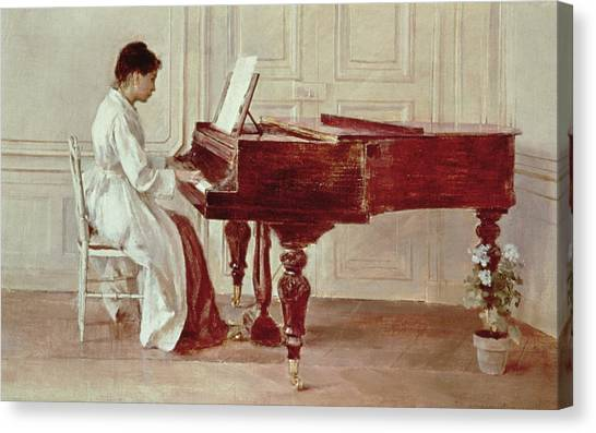 Pianos Canvas Print - At The Piano by Theodore Robinson