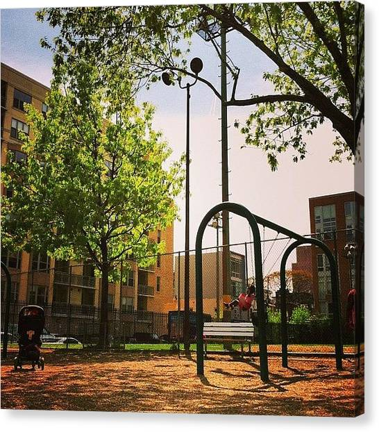 Swing Canvas Print - At The Playground by Chanda Causer