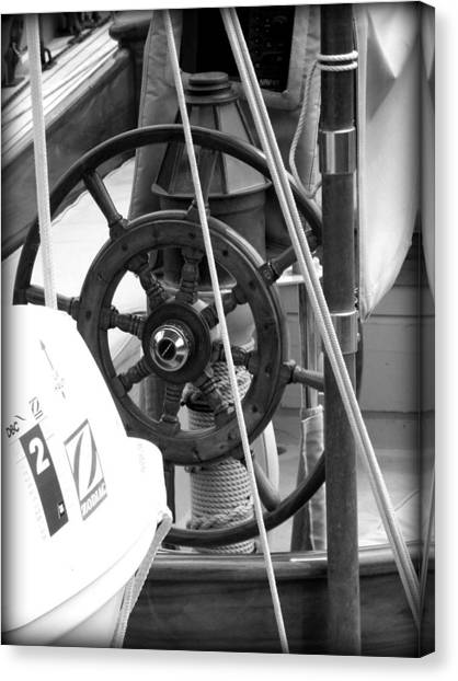 At The Wheel Bw Canvas Print by Dancingfire Brenda Morrell