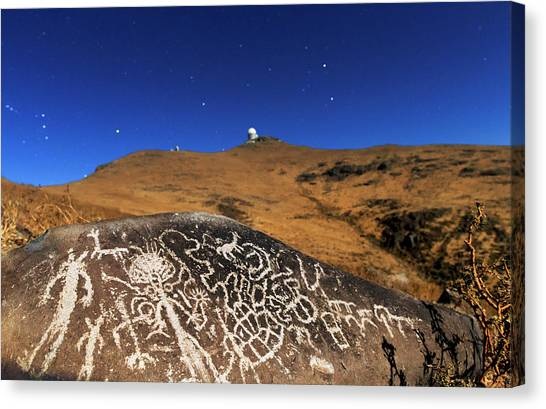 Atacama Rock Art And Astronomical Observatories Canvas Print by Babak Tafreshi/science Photo Library