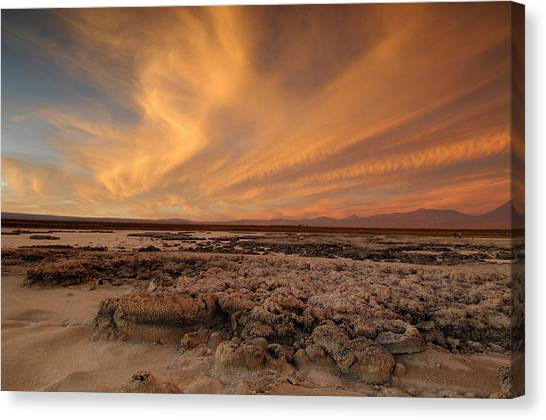 Atacama Desert Canvas Print - Atacama Salt Lake Near San Pedro De by Christian Heeb
