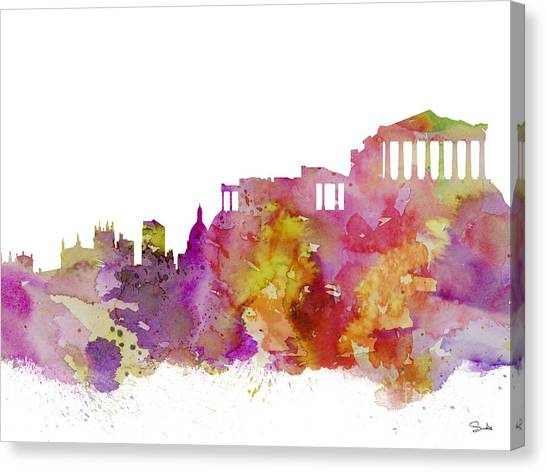 Athens Canvas Print - Athens by Watercolor Girl