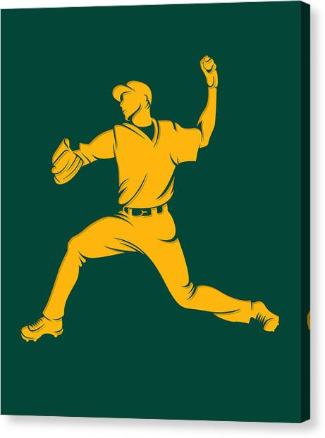 Oakland Athletics Canvas Print - Athletics Shadow Player1 by Joe Hamilton